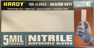 Blue Nitrile Disposable Gloves Hardy Size Xl Examination Grade 5 Mil 100