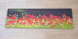 """Reduced...LARGE CANVAS STYLE POPPY PICTURE 12""""X 39"""" USED"""