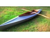 14 ft Vintage wooden 2-seat Kayak and paddle.