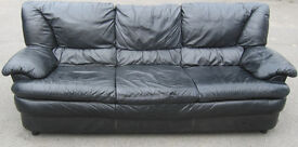 Black leather 3 seater sofa over 7 foot long. Free local delivery