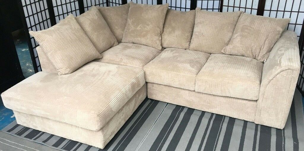 Denver Left Hand Corner Chaise Sofa NEW Mink Beige Waffle Jumbo Cord