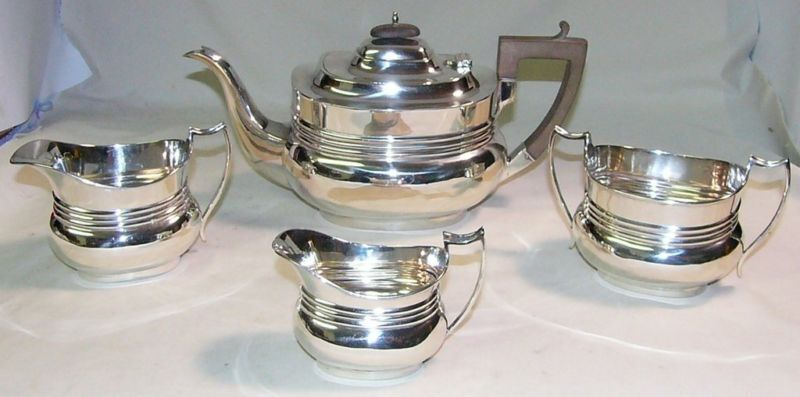 MAPPIN & WEBB STERLING SILVER ART DECO 4 PC TEA SET