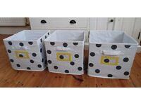 Set of three Vertbaudet fabric storage boxes