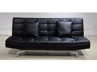 Midas Sofa Bed In Luxury Bonded Leather (includes 2 Free Pillows And Chrome Feet)