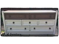 Pine Long Solid Chest Of Drawers Hand Painted in ANNIE SLOAN Paris Grey Honfleur Chalk Paint