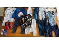 bundle of baby boys clothes age 3-6 months to 12-18 months & wellies & slippers