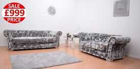 BRAND NEW LUSTRO CHESTERFIELD 3 SEATER AND2 SEATER SOFA SET!! FAST UK DELIVERY