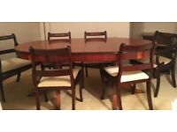 Twin Pedestal Dining Table with 6 chairs