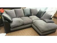 black/grey fabric corner sofa in excellent condition