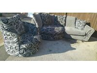 Large Cuddle Sofa and swivel chair grey and black