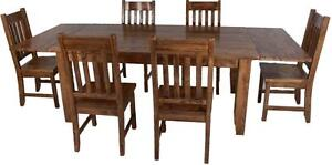 Amish/Mennonite Made Solid Wood Dining Table Sets, Live Edge Dining Table Set, Reclaimed Barn Wood Dining Table Sets.