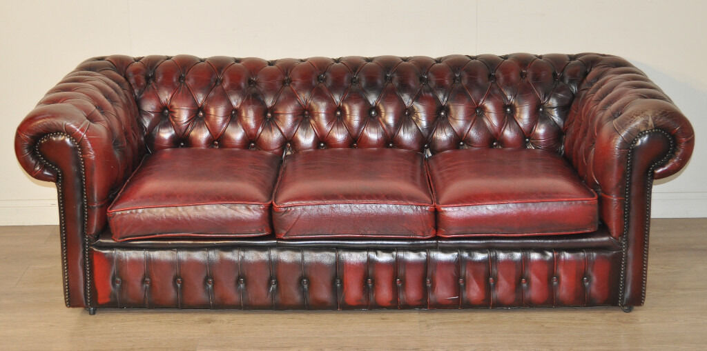 Bon Large Vintage Red Leather Button Back Chesterfield 3 Seat Sofa Couch Settee