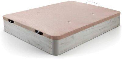 Canapé Abatible Madera. Gran Capacidad Tapa 3D Transpirable, Blanco v. 90x190cm