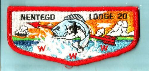 NENTEGO Lodge 20-S OA, red bdr + fdl, Del-Mar-Va Council Boy Scout flap DE VA MD