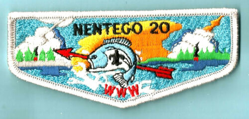 NENTEGO Lodge 20-S OA, wht bdr + fdl, Del-Mar-Va Council DE VA MD Boy Scout flap
