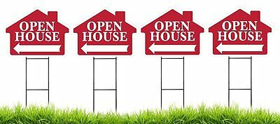 Large 18x24 Open House - Red - House Shaped Sign Kit With Stands - 4 Pack
