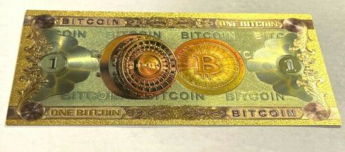 US Seller 1 Bitcoin BTC Gold Banknote Crypto BANKNOTE BILL NOTE gold foil Carat-