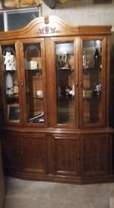 2 piece buffet and hutch with interior light