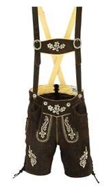 Mens Bavarian Shorts Oktoberfest Lederhosen Brown Leather Fits size 32-34 Waist