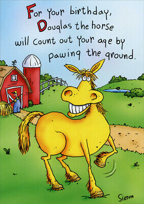 Douglas The Horse Funny Birthday Card - Greeting Card by Oatmeal Studios - Horse Birthday