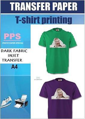 PPS A4 Dark Inkjet T Shirt Transfer Paper X 5  W/ Free P&P for sale  Wincanton