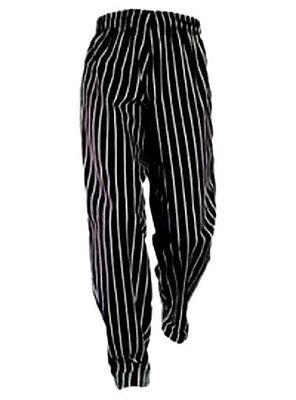 Chef Pants Black White Stripe Medium Drawstring Waist Chef Designs New