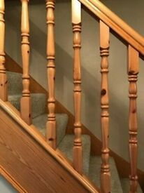 Complete Solid PINE staircase spindles, handrails etc Very Good Condition