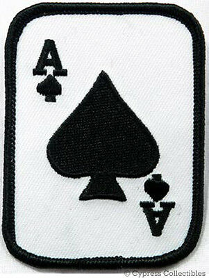 ACE of SPADES iron-on PATCH texas hold 'em POKER PLAYING CARD embroidered -