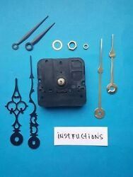 SHORT SHAFT Quartz Clock Movement Kit w/ 3 Pairs of Hands - American Made (982)