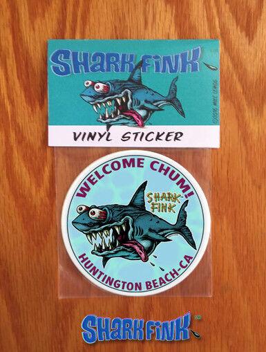 New!!! Shark Fink Sticker Welcome Chum! Huntington Beach - CA! Artist Mike Lemos