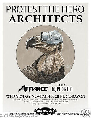 PROTEST THE HERO /ARCHITECTS /AFFIANCE /KINDRED 2013 SEATTLE CONCERT TOUR POSTER