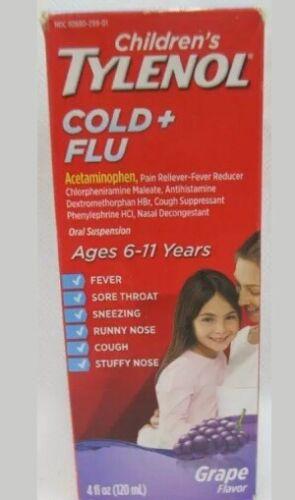 Children's Tylenol Cold + Flu Acetaminophen, Grape, 4 fl oz