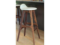 Eric Buch style full leather and walnut bar stool - New