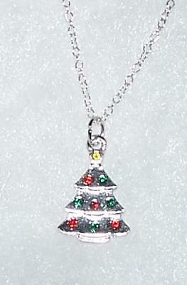 "925 STERLING silver 18"" necklace CHRISTMAS TREE AUSTRIAN CRYSTAL CHARM women mom"