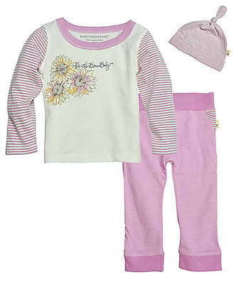 Burt's Bees Baby Girl 3 Piece Top, Pants & Hat Set ~Lavender