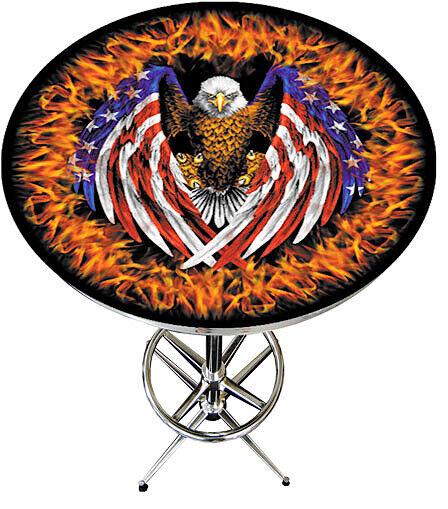American Bald Eagle Flag Fire Department Pub Table