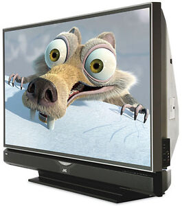 61 inch JVC DLP 1080P TV with stand and remote.