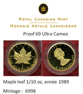 Monnaie or : RARE ...Gold Maple Leaf / PROOF 69 Ultra Cameo