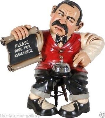Bell Clerk Statue - Human Figurine Display - Butler Statue Figurine