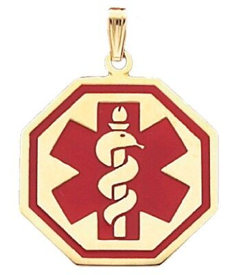 New 10k or 14k Yellow Gold Medical Alert Red or Blue Octagon Pendant Charm
