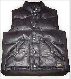 RALPH LAUREN Denim & Supply Faux Leather Down Gilet Size L RRP £145++