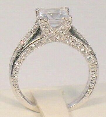 3 Ct Princess Diamond Solitaire Pave Bridal Engagement Ring White Gold ov Sz 7