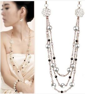 Hot-New-Fashion-18K-GP-Swarovski-Crystal-Pearl-Pendant-Necklace-2844-1