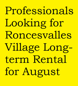 Professional family wants 2-bed (+) flat in Roncevalles for Aug