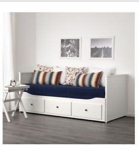 Ikea bed with 3 big drawers (can be drawn to be a king size)