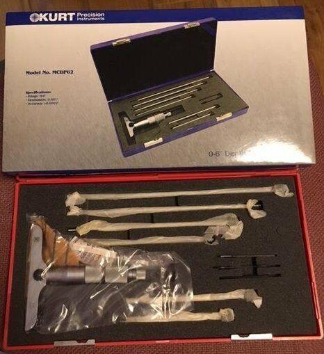 "Kurt Depth Micrometer 0-6"" MCDP62 in hard plastic Case NEW"