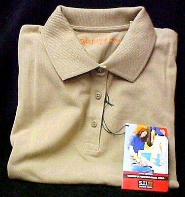 511 Tactical Series Polo Shirt L Women's Ladies Tan Pique Knit Short Sleeve New