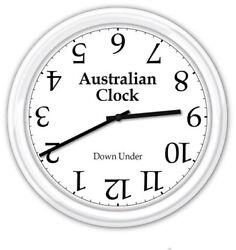 Australia Australian Wall Clock - Upside Down Under - Funny Novelty GIFT