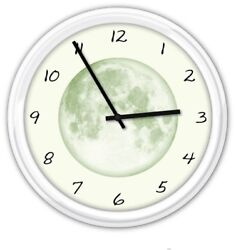 GLOW IN THE DARK MOON Silent Wall Clock - Stars Astronomy - BEDROOM GREAT GIFT