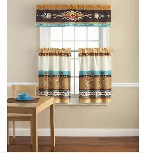 kokopelli 3 piece curtains set valance kitchen curtains new